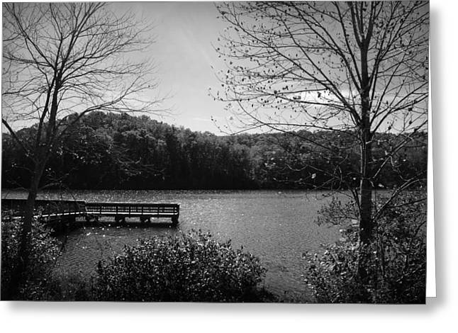 Kelly Photographs Greeting Cards - Pier at Table Rock in Black and White Greeting Card by Kelly Hazel