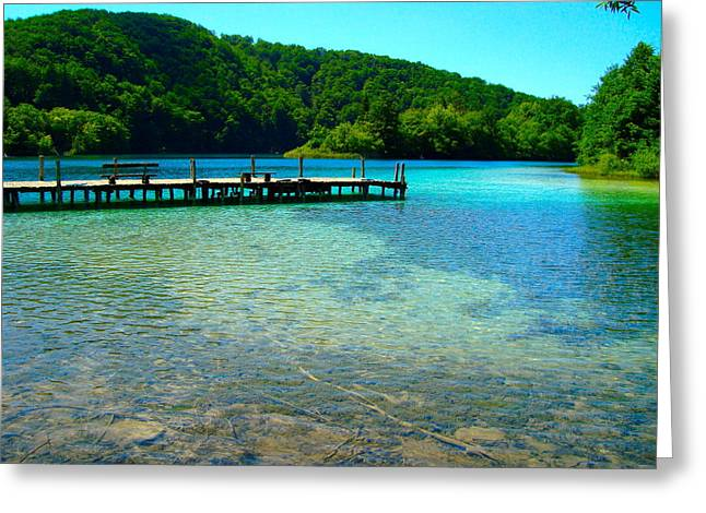Paradise Pier Attraction Greeting Cards - Pier at the Plitvice Lakes Greeting Card by Ewerton Watanabe