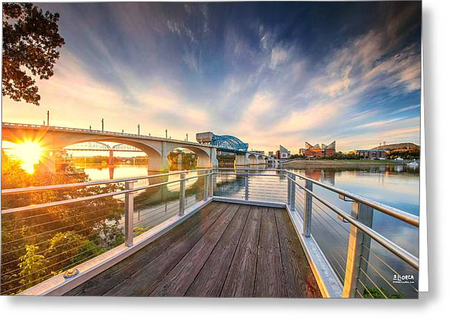 Tennessee River Greeting Cards - Pier By Delta Queen In Renaissance Park Greeting Card by Steven Llorca