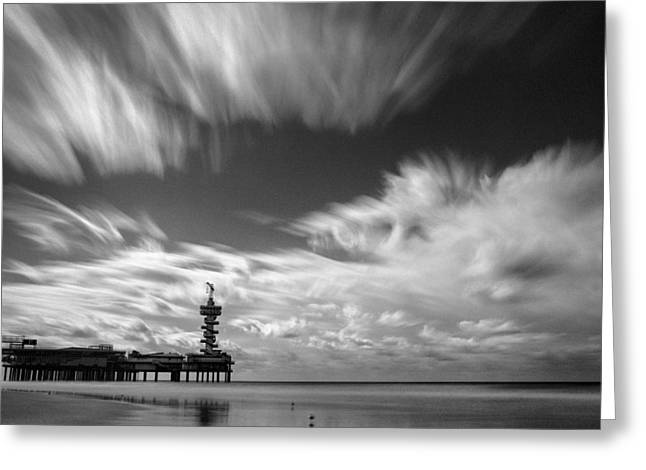 Scheveningen Greeting Cards - Pier End Greeting Card by Dave Bowman