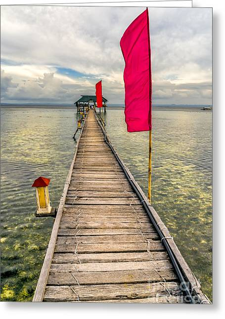 Pier Digital Greeting Cards - Pier Flags Greeting Card by Adrian Evans