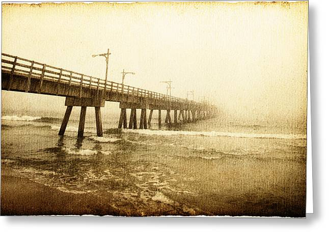 Evening Wear Photographs Greeting Cards - Pier In A Storm Greeting Card by Skip Nall