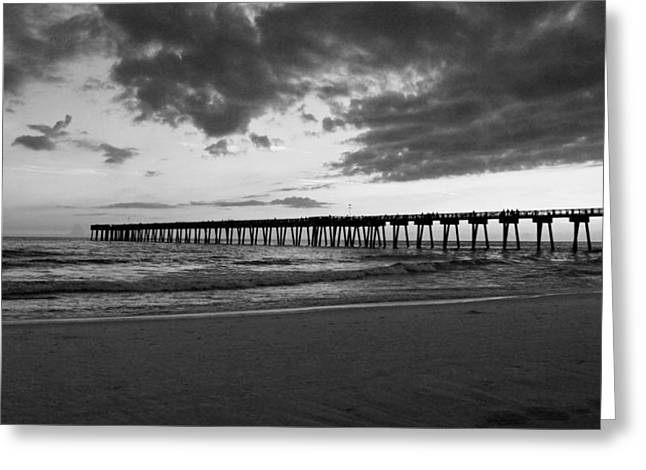 After Sunset Greeting Cards - Pier in Black and White Greeting Card by Sandy Keeton