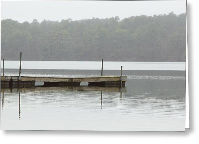 River Mist Greeting Cards - Pier in mist Greeting Card by Kitty Ellis