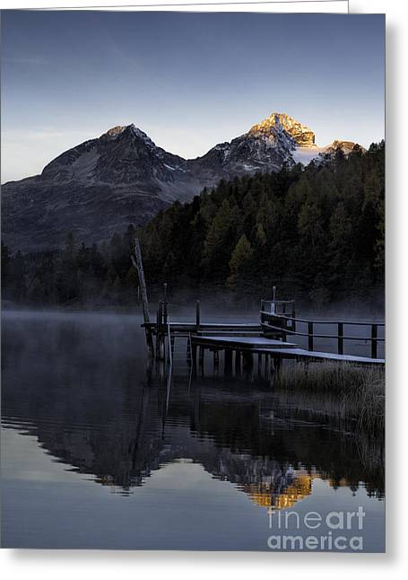 Graubunden Greeting Cards - Pier In Mist Greeting Card by Timothy Hacker