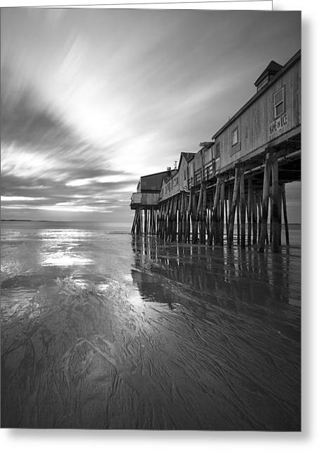 Maine Shore Greeting Cards - Pier in Monochrome Greeting Card by Eric Gendron