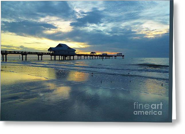 Reflection Of Sun In Clouds Greeting Cards - Pier In Pastel Greeting Card by D Hackett