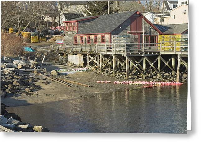 Fishing Village Greeting Cards - Pier in Tenants Harbor Maine Greeting Card by Keith Webber Jr