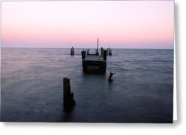 North Point Greeting Cards - Pier In The Atlantic Ocean, Dilapidated Greeting Card by Panoramic Images