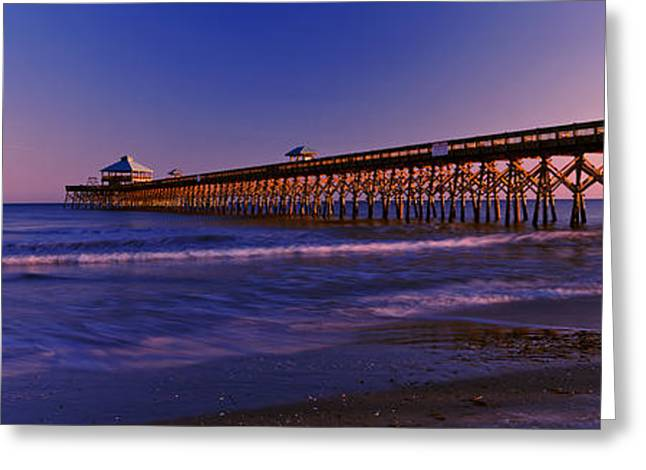 Fishing Pier Greeting Cards - Pier In The Ocean, Folly Beach Fishing Greeting Card by Panoramic Images