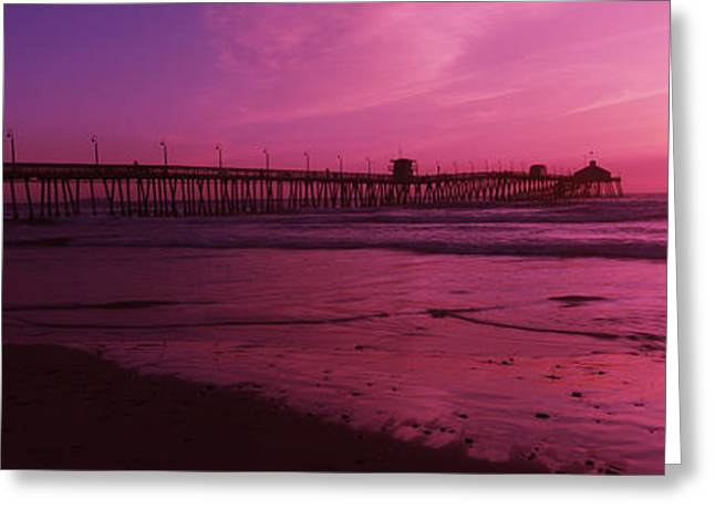 Reflection In Water Greeting Cards - Pier In The Pacific Ocean At Dusk, San Greeting Card by Panoramic Images