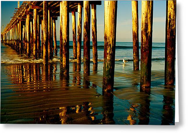 California Ocean Photography Greeting Cards - Pier In The Pacific Ocean, Cayucos Greeting Card by Panoramic Images
