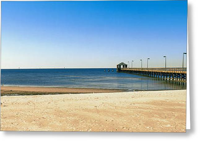 Biloxi Greeting Cards - Pier In The Sea, Biloxi, Mississippi Greeting Card by Panoramic Images
