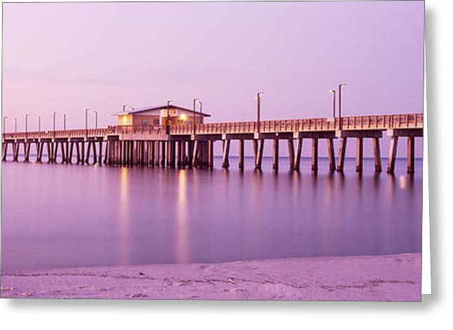 Park Scene Greeting Cards - Pier In The Sea, Gulf State Park Pier Greeting Card by Panoramic Images