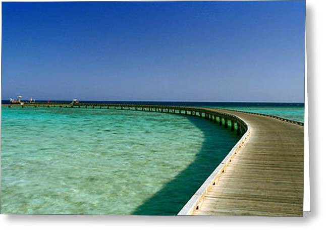 Horizon Over Water Greeting Cards - Pier In The Sea, Soma Bay, Hurghada Greeting Card by Panoramic Images