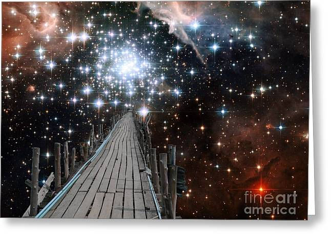 E-montage Greeting Cards - Pier into Space Star Cluster 2 Greeting Card by Gregory Smith