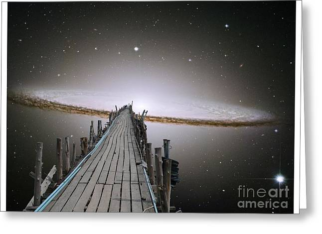 Vertigo Digital Art Greeting Cards - Pier Into Space white border Greeting Card by Gregory Smith