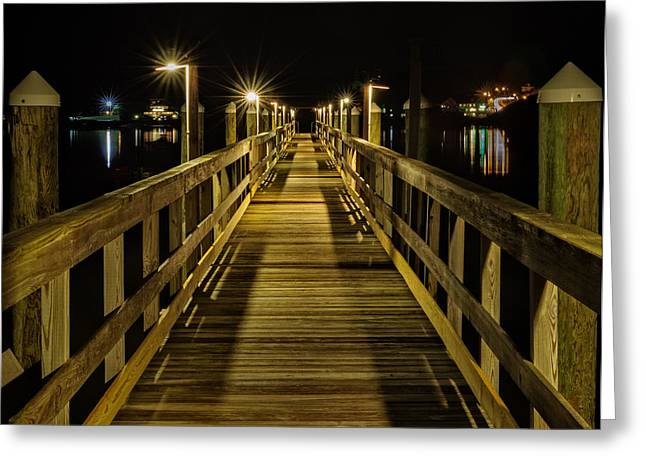 Pier Into The Night Greeting Card by Len Saltiel