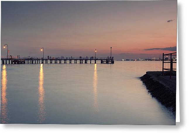 Sun Wu Greeting Cards - Pier Landscape Greeting Card by Sun Wu
