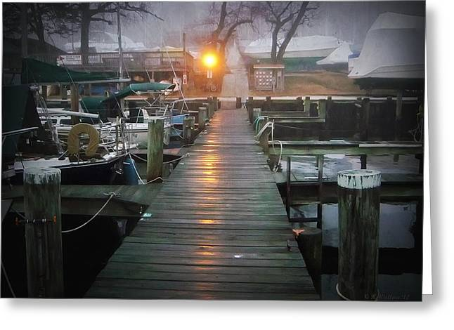 Pier Light Greeting Card by Brian Wallace