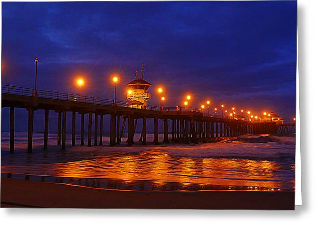 Surf City Digital Greeting Cards - Pier Lights Greeting Card by Ron Regalado