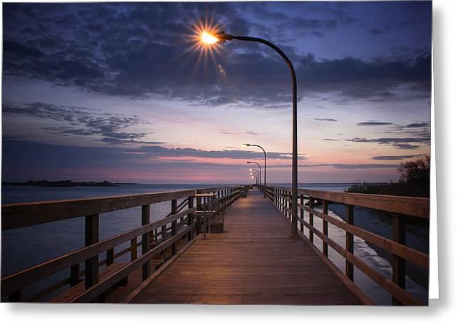 Babylon Greeting Cards - Pier Morning Sunrise Greeting Card by Vicki Jauron