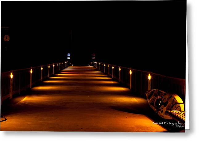 Beach At Night Greeting Cards - Pier Night Lights Greeting Card by Volker blu Firnkes