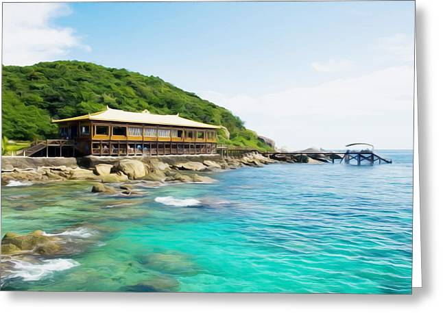 Southern Province Paintings Greeting Cards - Pier of Wuzhizhou Island at beach Greeting Card by Lanjee Chee