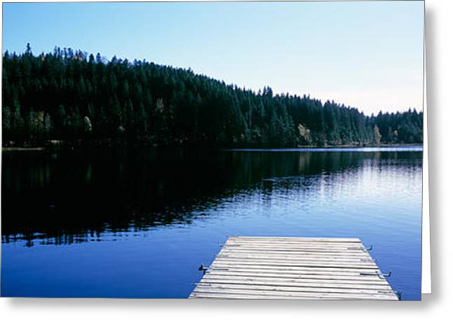 Pier On A Lake, Black Forest Greeting Card by Panoramic Images