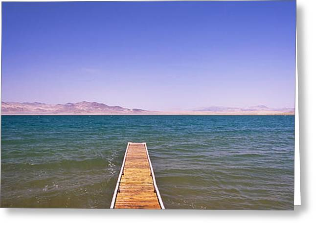 Pyramids Greeting Cards - Pier On A Lake, Pyramid Lake, Nevada Greeting Card by Panoramic Images