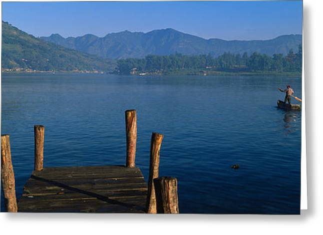 Mid-adult Greeting Cards - Pier On A Lake, Santiago, Lake Atitlan Greeting Card by Panoramic Images