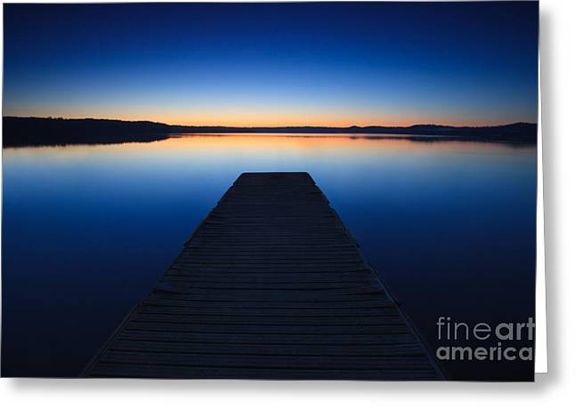 Italian Sunset Greeting Cards - Pier on the lake II Greeting Card by Matteo Colombo