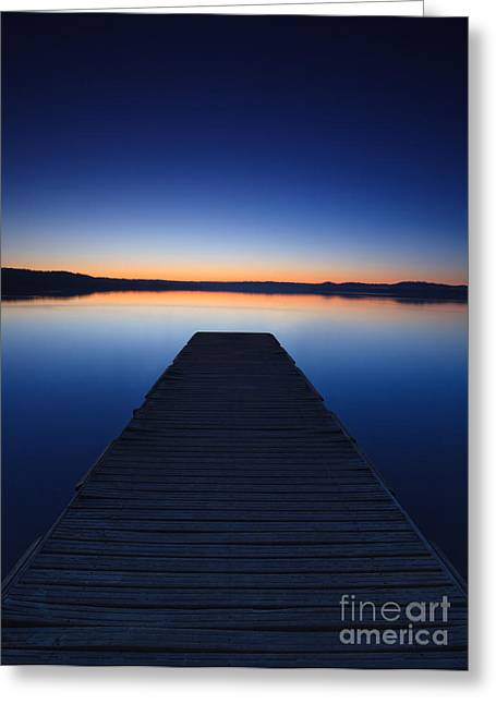 Italian Sunset Greeting Cards - Pier on the lake Greeting Card by Matteo Colombo