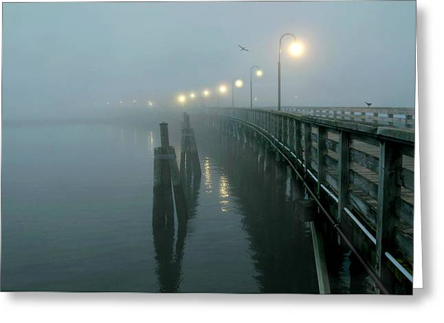 Foggy Beach Greeting Cards - Pier on the Sound Greeting Card by Diana Angstadt