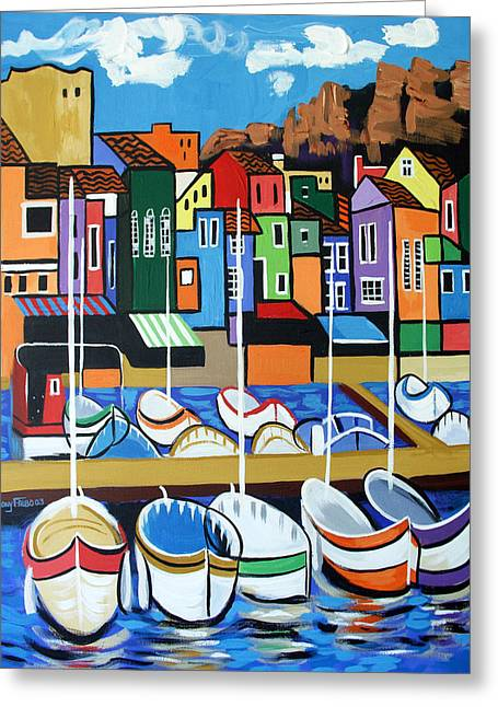 Cubism Greeting Cards - Pier One Greeting Card by Anthony Falbo
