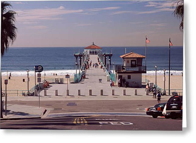 Pier Over An Ocean, Manhattan Beach Greeting Card by Panoramic Images