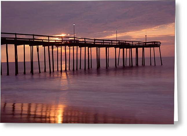 Wooden Post Greeting Cards - Pier Over An Ocean, Ocean City Greeting Card by Panoramic Images