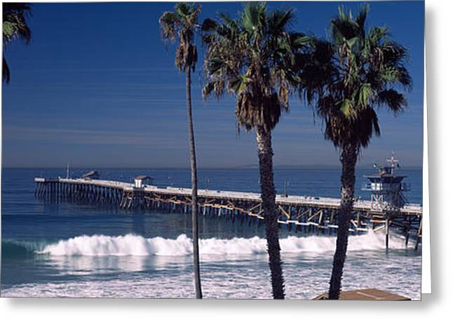 Urban Images Greeting Cards - Pier Over An Ocean, San Clemente Pier Greeting Card by Panoramic Images