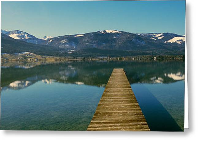 Mountain Greeting Cards - Pier Over On A Lake, Wolfgangsee, St Greeting Card by Panoramic Images