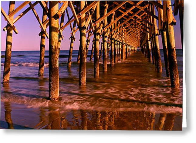 Beach Photography Greeting Cards - Pier Over The Ocean, Folly Beach Greeting Card by Panoramic Images
