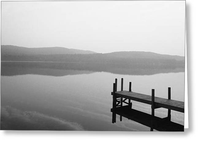 Meditation Images Greeting Cards - Pier, Pleasant Lake, New Hampshire, Usa Greeting Card by Panoramic Images