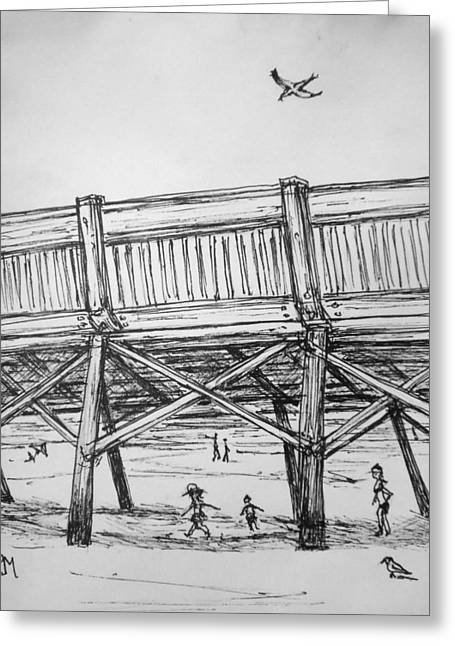 Beaches Drawings Greeting Cards - Pier Pressure Greeting Card by Pete Maier