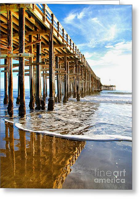 Ventura California Greeting Cards - Pier Reflection Greeting Card by Norma Warden