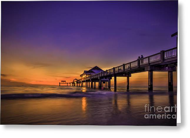 Florida Bridge Greeting Cards - Pier Reflections Greeting Card by Marvin Spates