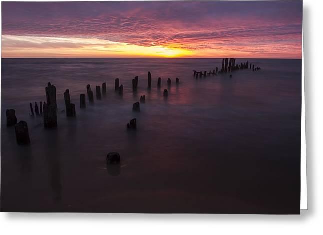 Lake Michgan Greeting Cards - Pier Remnants at Sunrise Greeting Card by Sven Brogren
