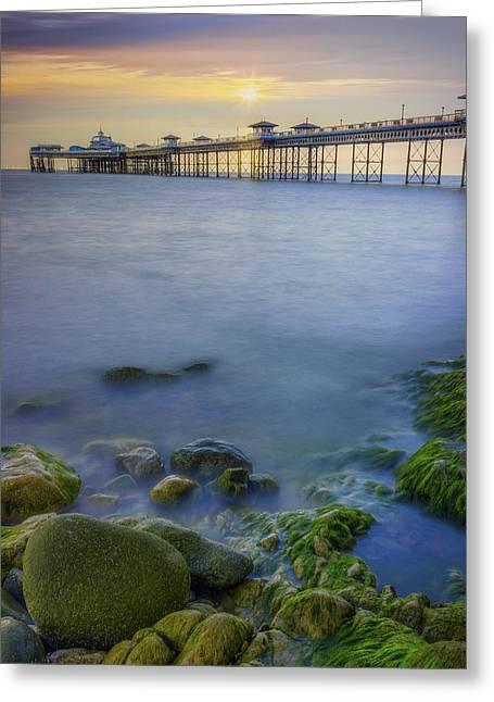 Llandudno Greeting Cards - Pier Sunrise Greeting Card by Ian Mitchell