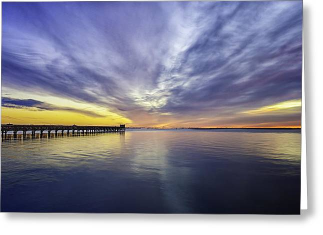 Babylon Greeting Cards - Pier Sunrise Greeting Card by Vicki Jauron