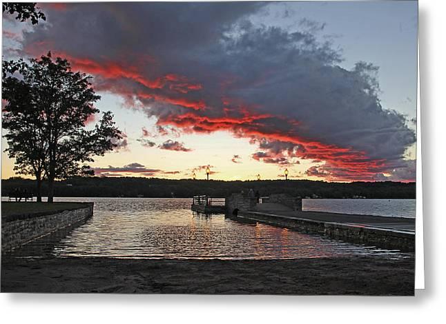 Cazenovia Greeting Cards - Pier Sunset Cazenovia 9/5/13 Greeting Card by John   Kennedy