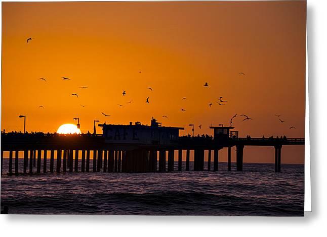 California Ocean Sunset Greeting Cards - Pier Sunset Greeting Card by Garry Gay