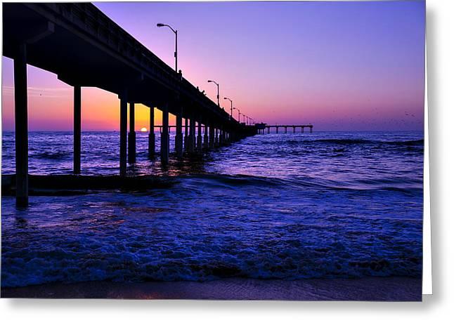 California Ocean Sunset Greeting Cards - Pier Sunset Ocean Beach Greeting Card by Garry Gay